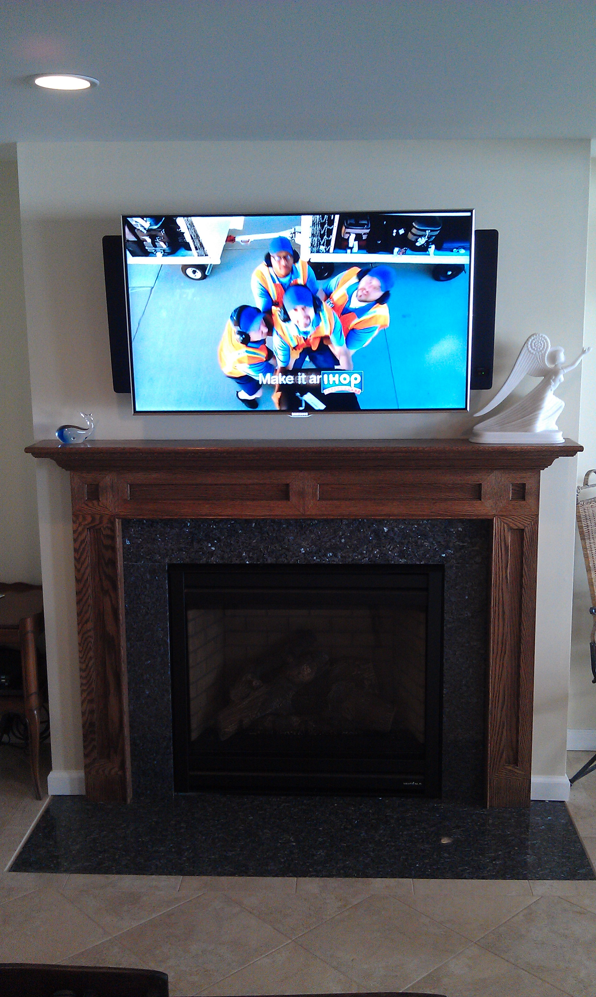 durham ct mount tv above fireplace richey group llc audio video experts. Black Bedroom Furniture Sets. Home Design Ideas