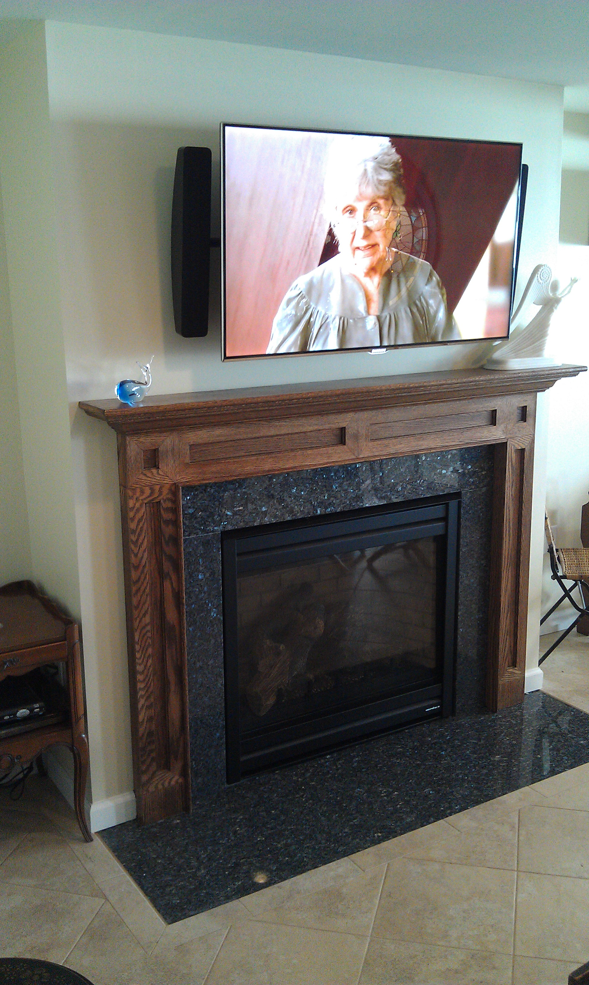 Wethersfield CT mount tv above fireplace