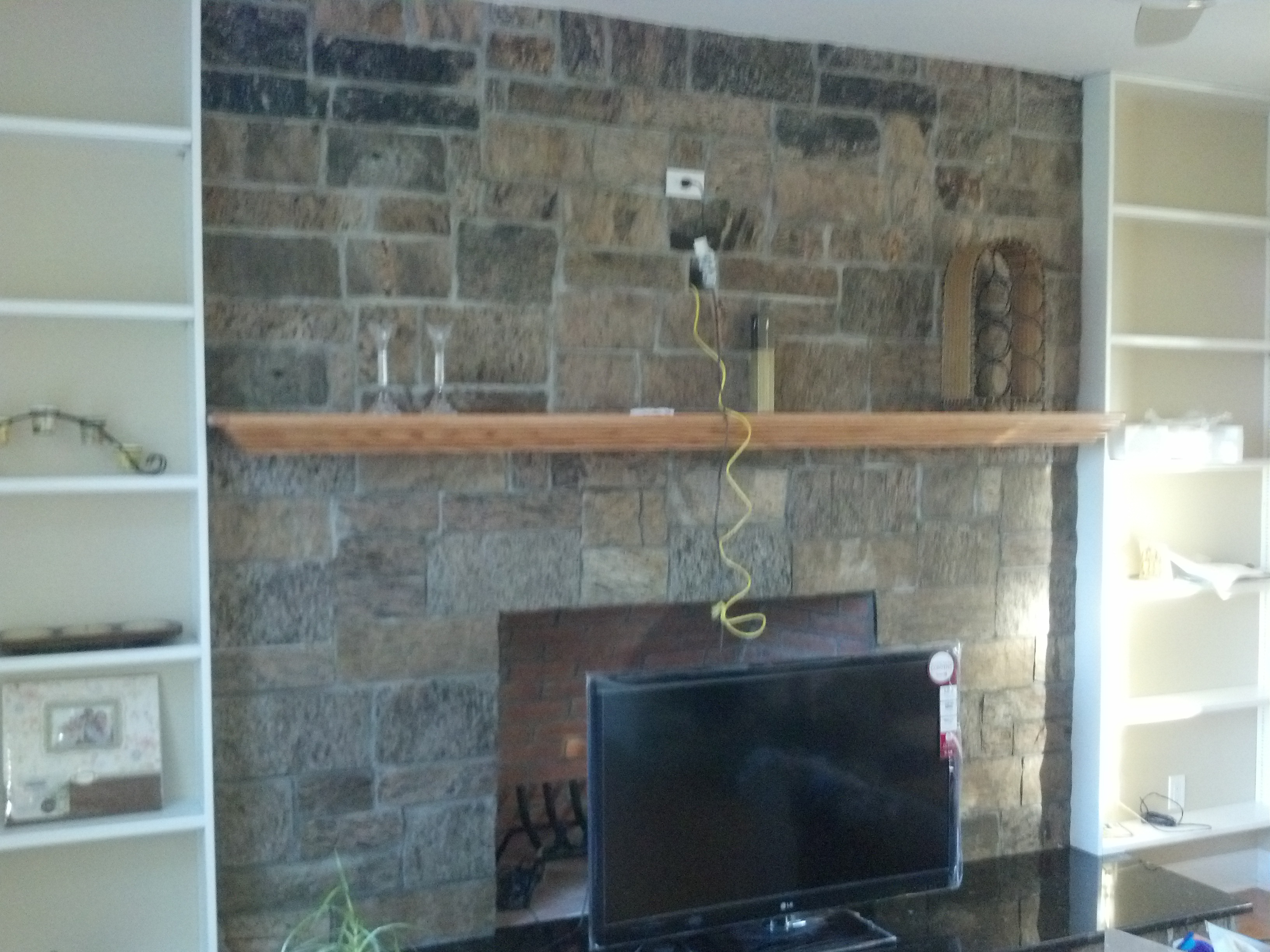 How to install a tv mount on stone fireplace fireplace ideas for New construction fireplace
