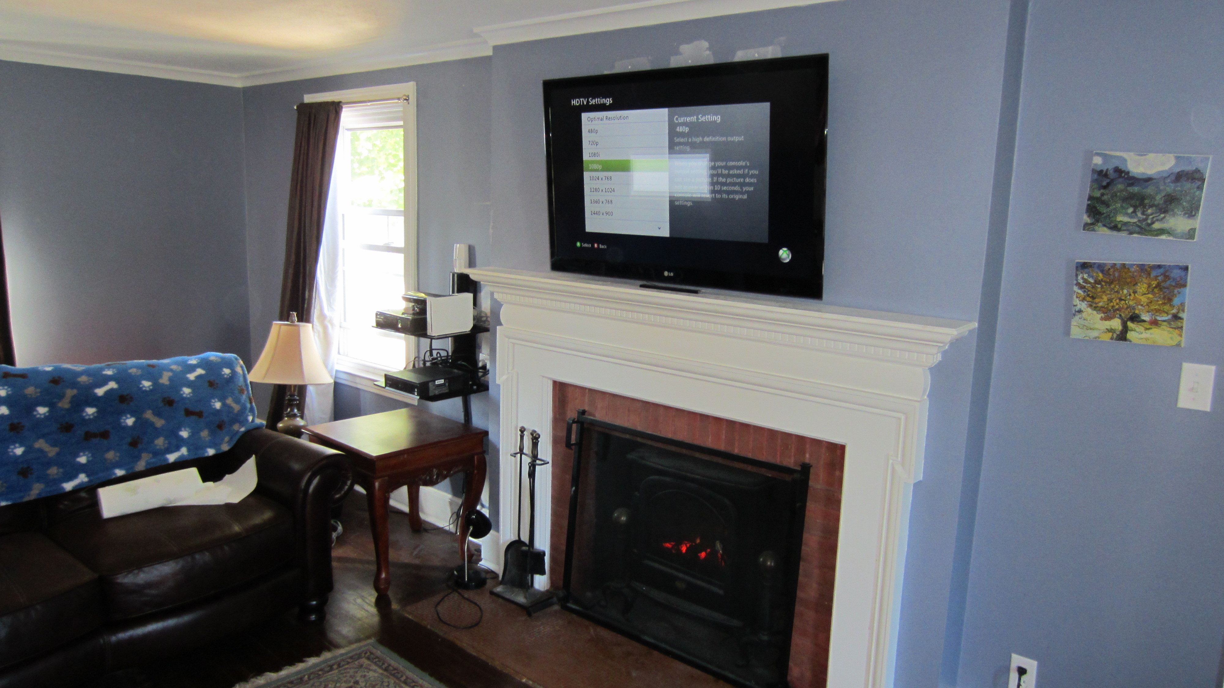 TV over fireplace with wires concealed to ps3, wii and HD cable box