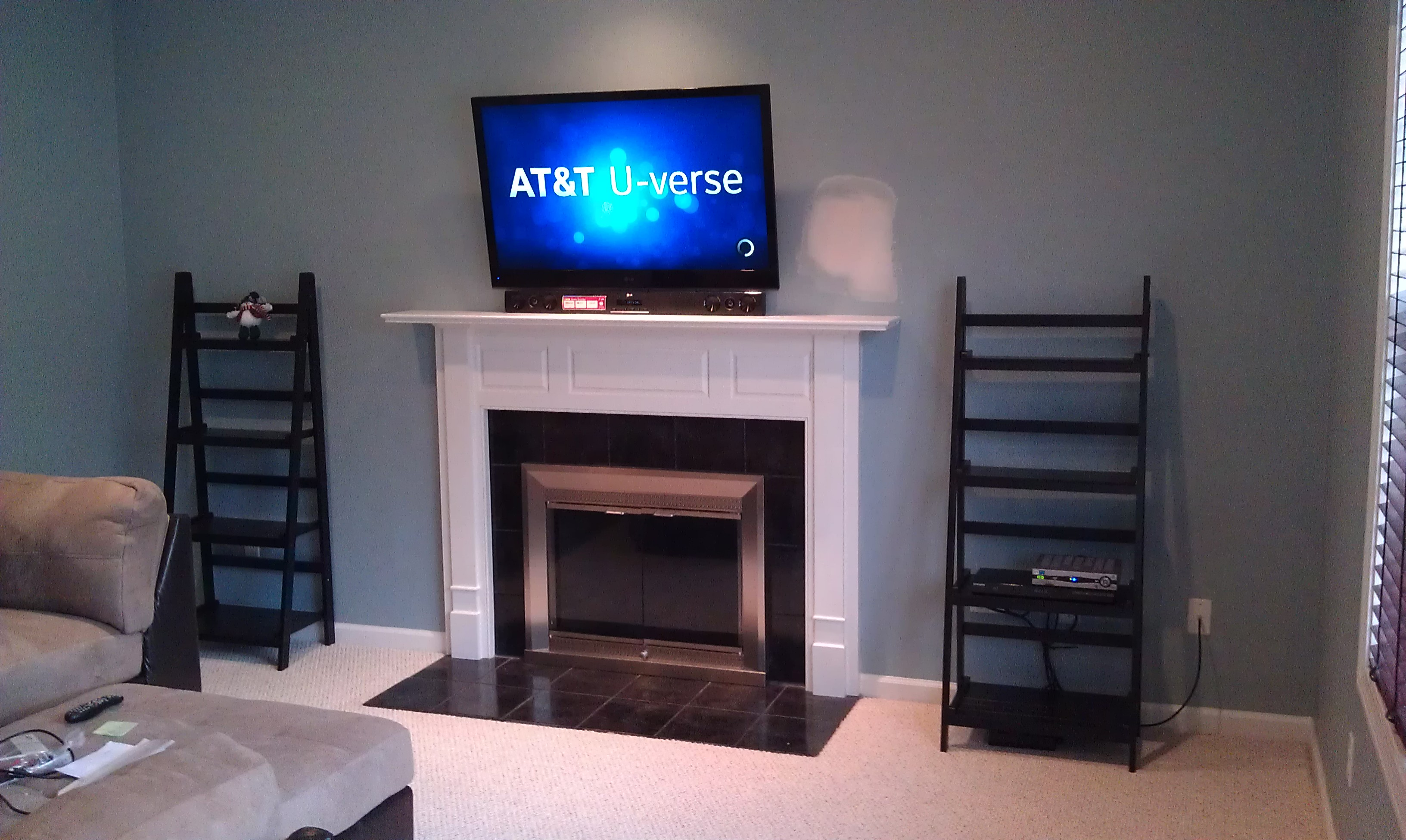 Middletown Ct Tv Mounting Home Theater Installation Wiring Panel Lg Over Fireplace With Soundbar And Wires Concealed 3