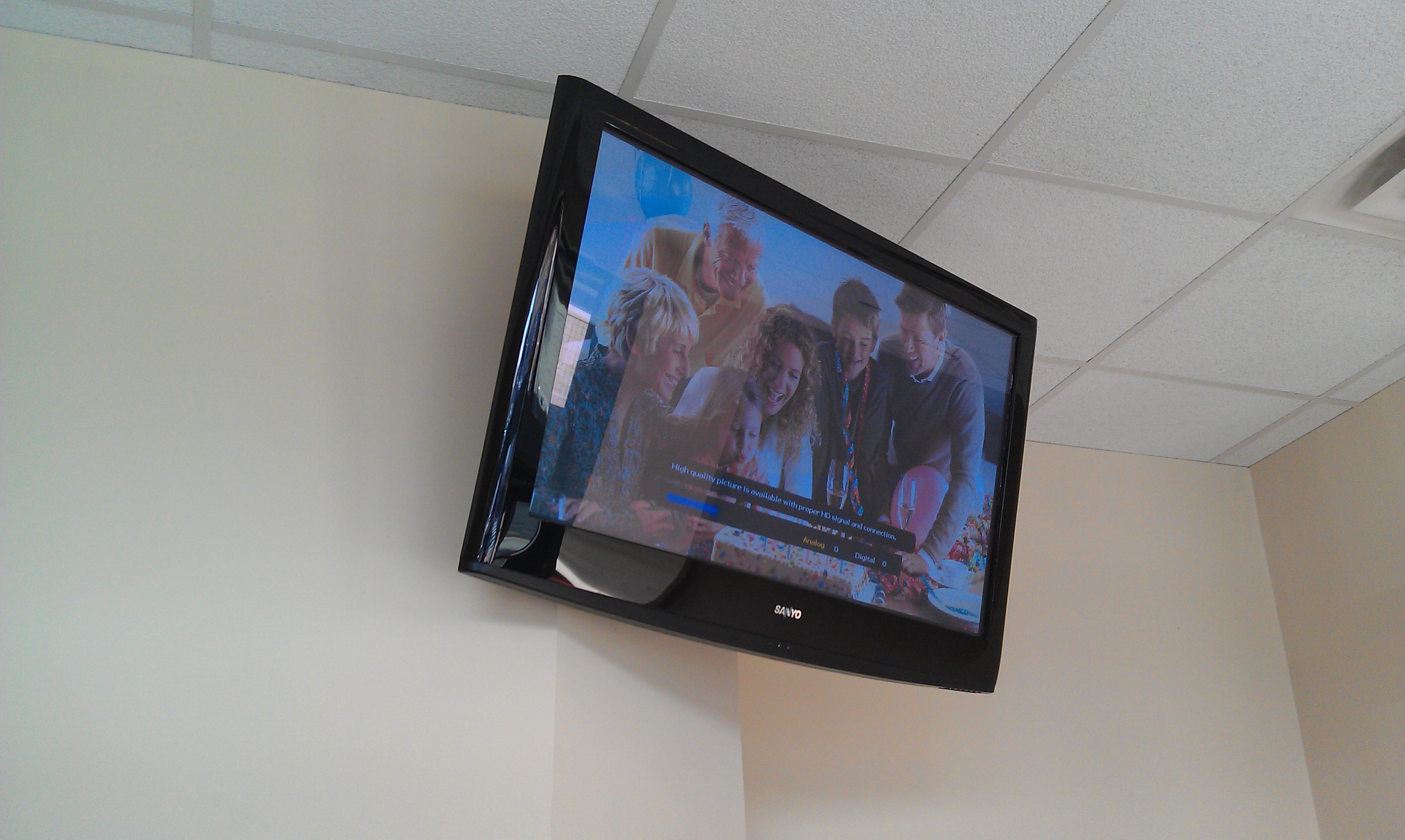 Monroe Ct Sanyo Tv Mounting On Wall In Dentist Office