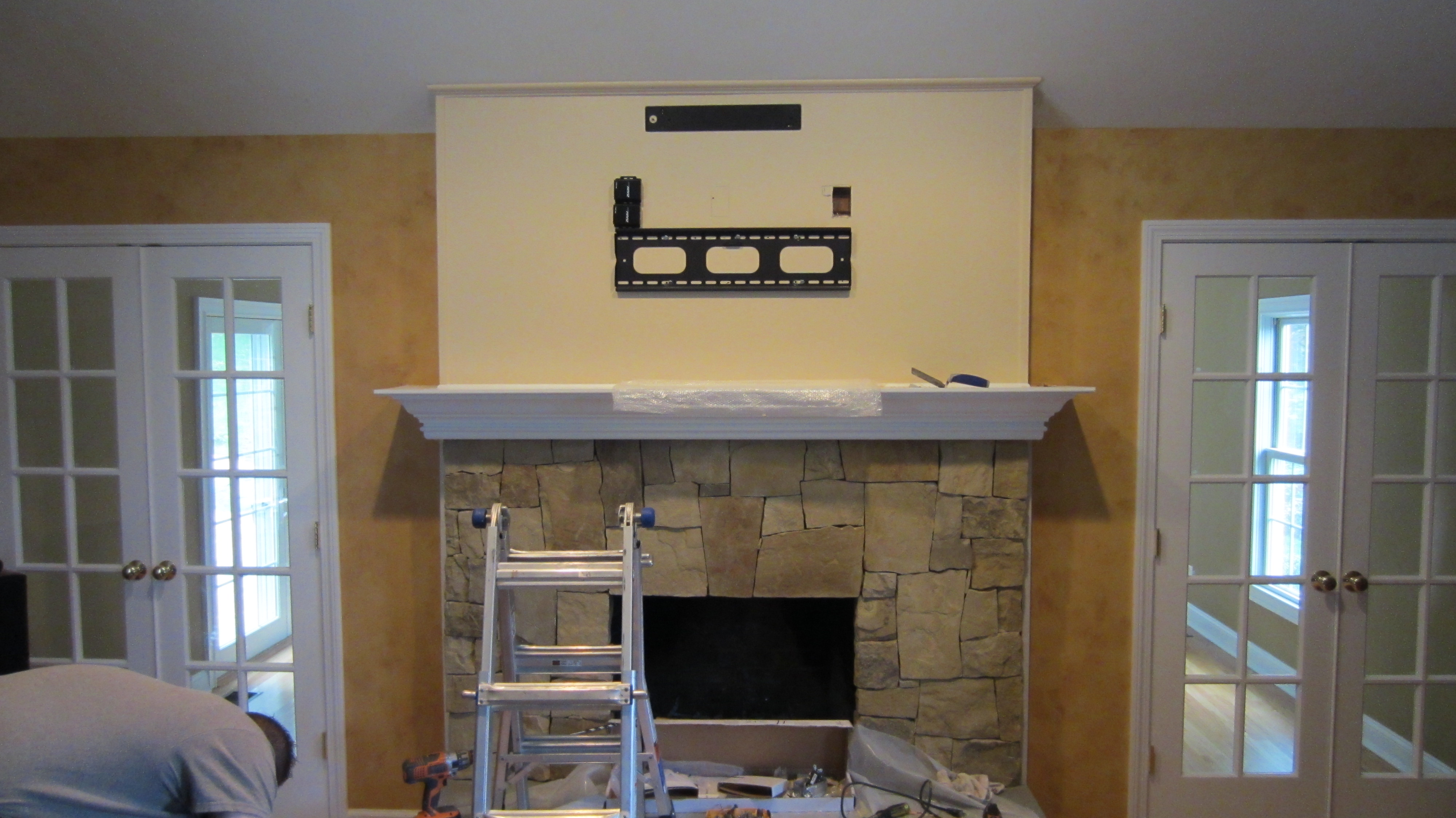 Newtown Ct Home Theater With Tv Over Fireplace