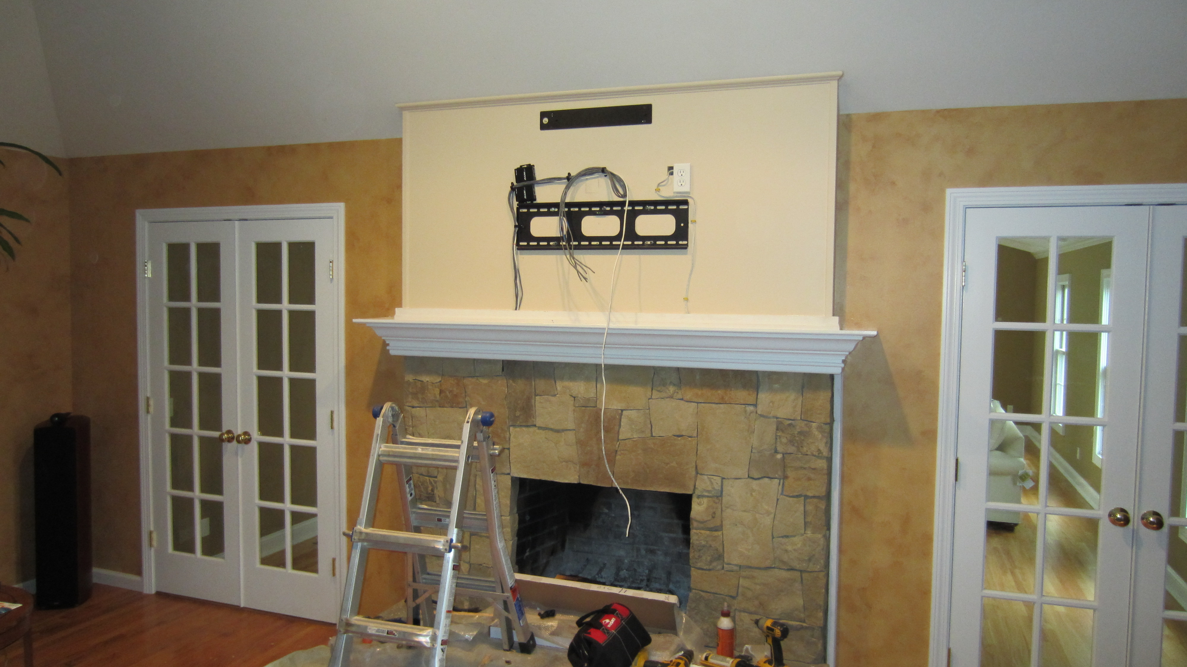 norwalk ct mount tv above fireplace home theater installation. Black Bedroom Furniture Sets. Home Design Ideas
