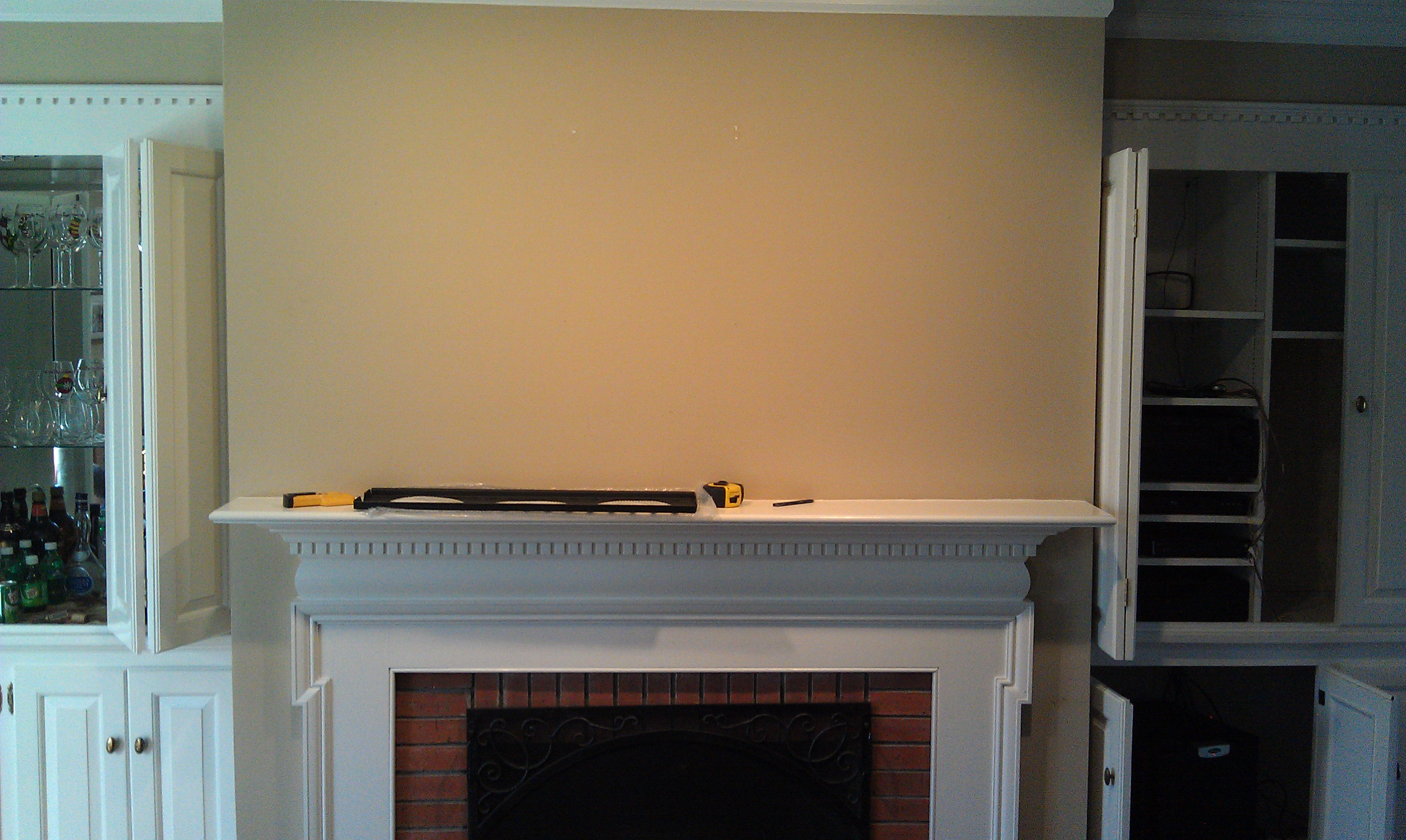 5 1 Home Theater Subwoofer Tv Over Fireplace Wires Hidden Home Theater Installation