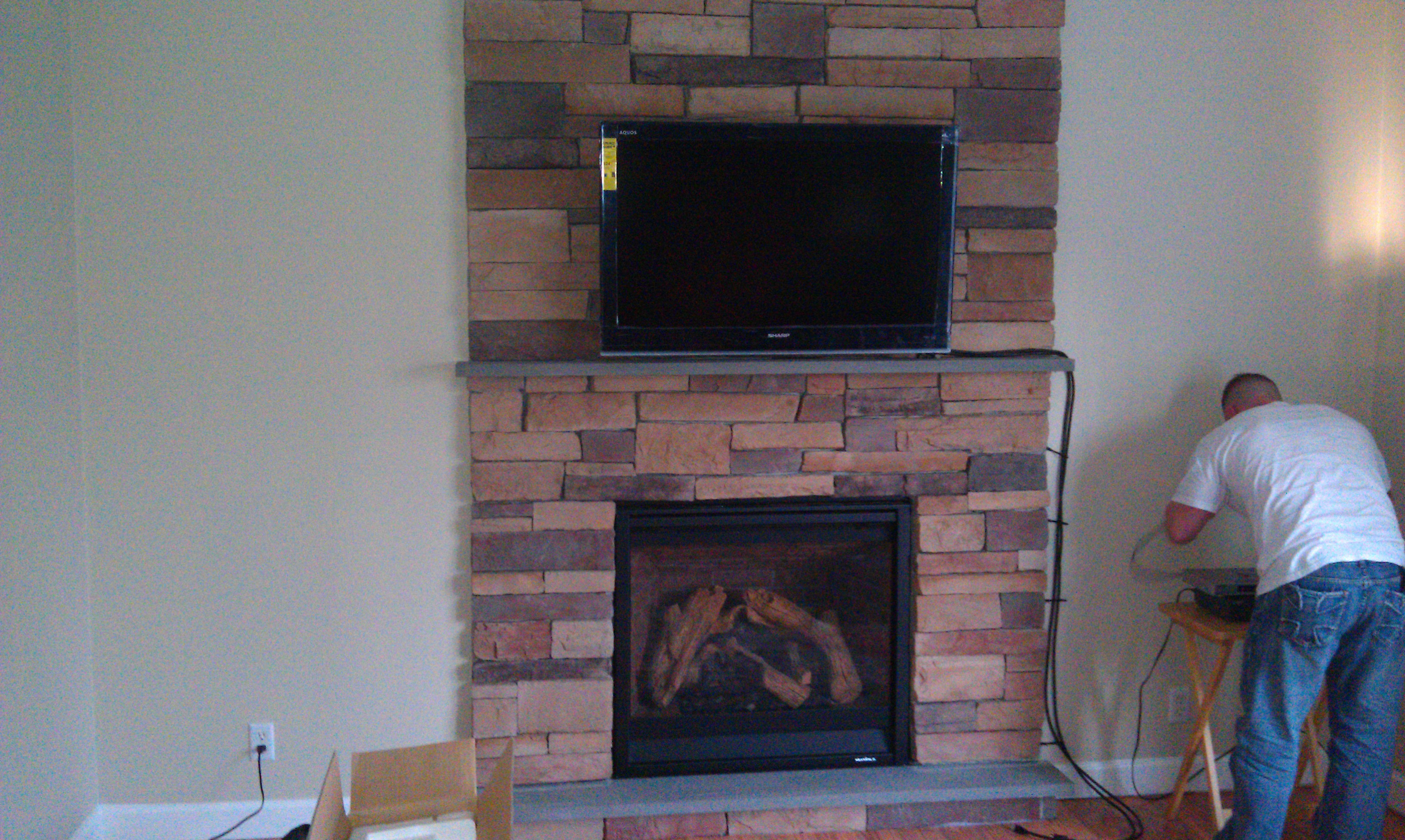 Farmington CT mount tv above fireplace