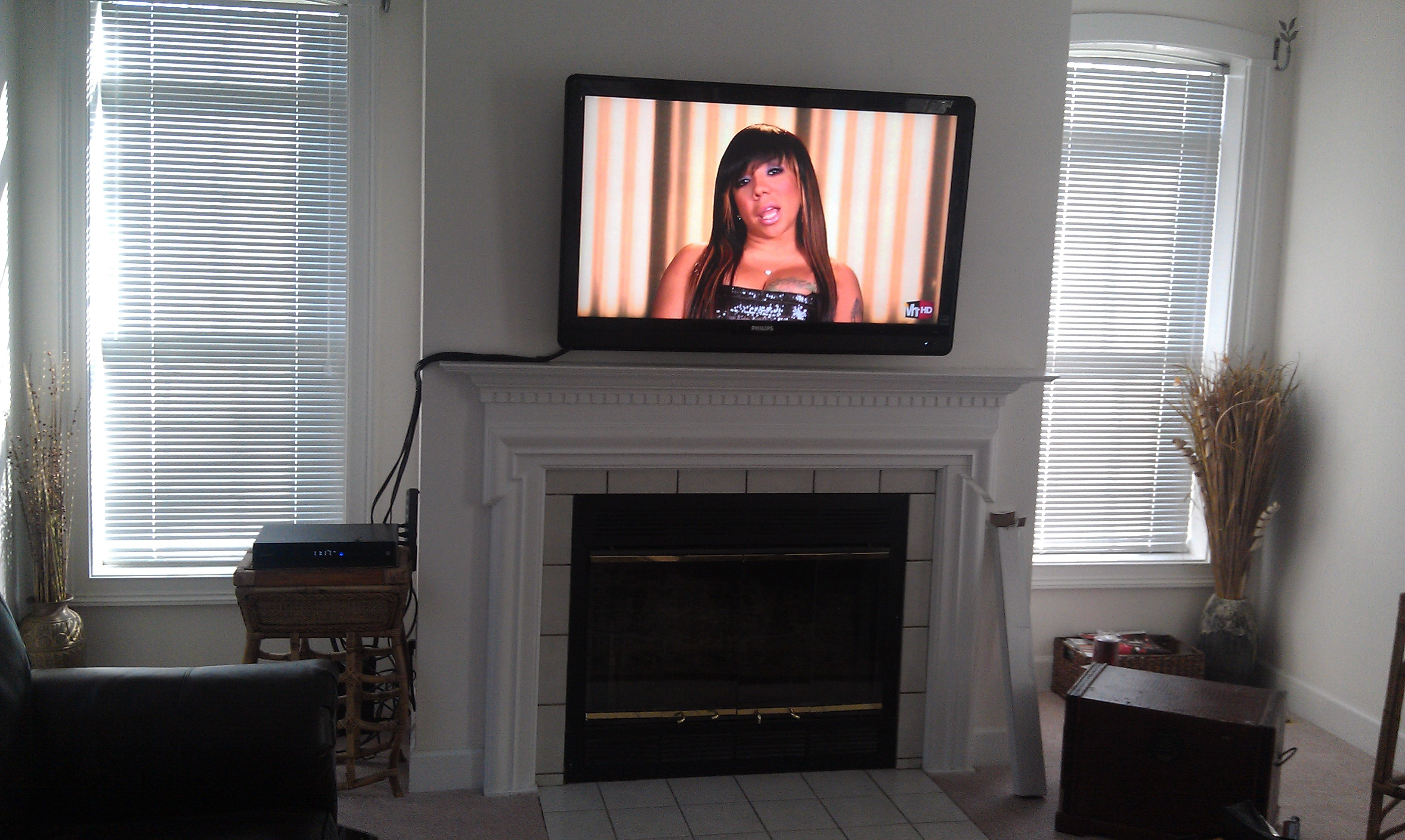 Wethersfield ct philipstv mounted above fireplace with for Tv over fireplace