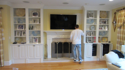west-hartford-ct-60-samsung-8000-tv-over-fireplace-0 - West Hartford CT Mount Tv Above Fireplace Home Theater Installation