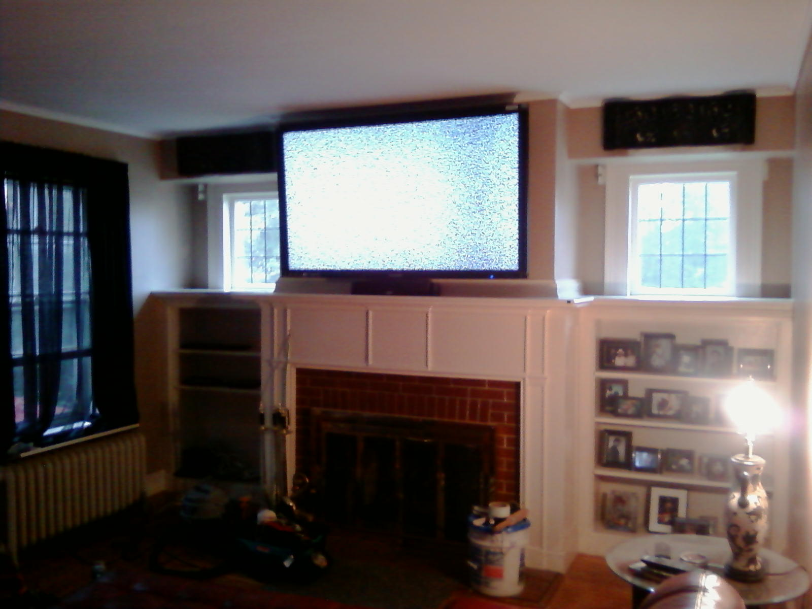 CT – 65? LCD TV Over fireplace. Complete Custom Home Theater. 7.1 In wall speakers | Home Theater Installation