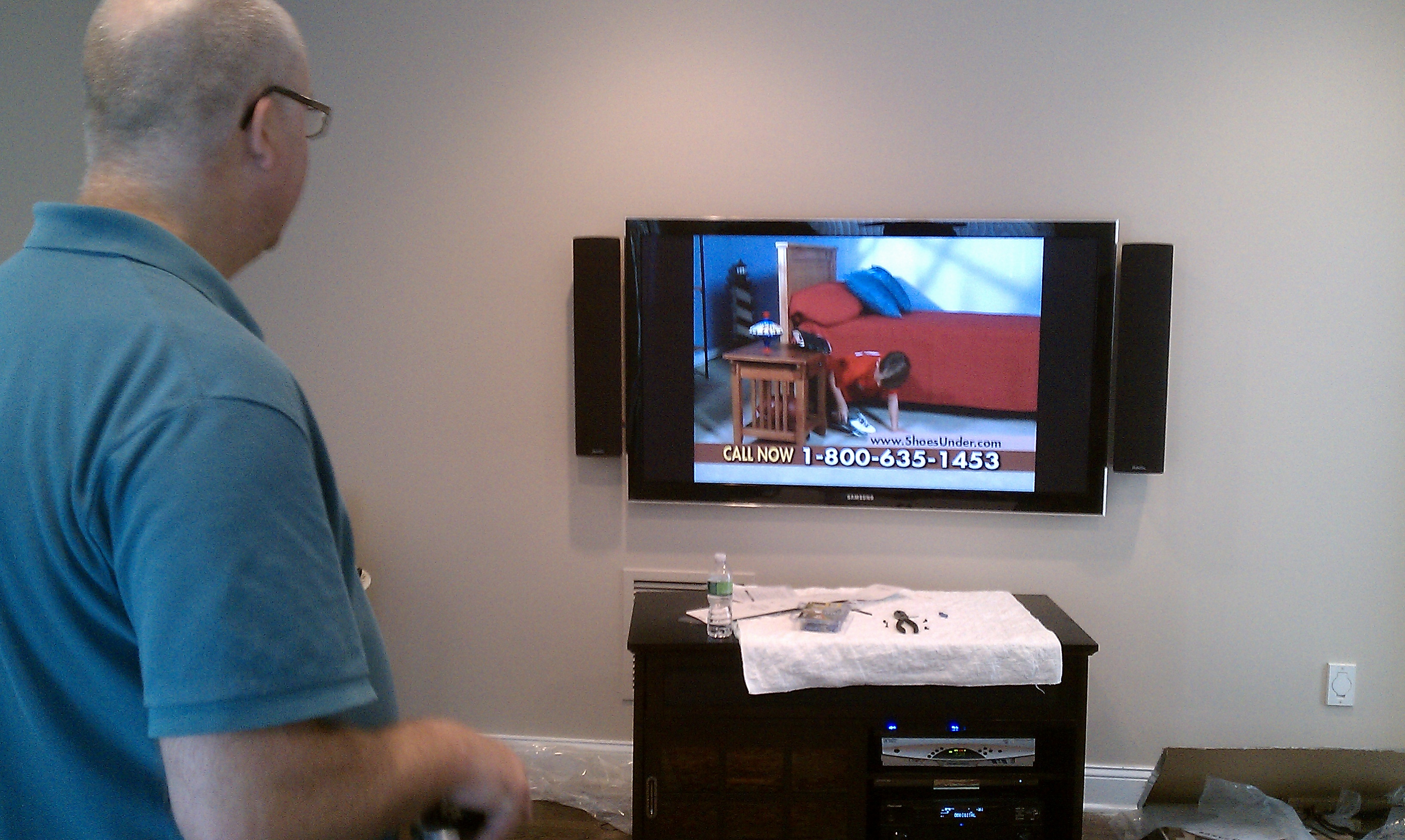 Berlin Ct Tv Mounted On Wall With Speakers Home