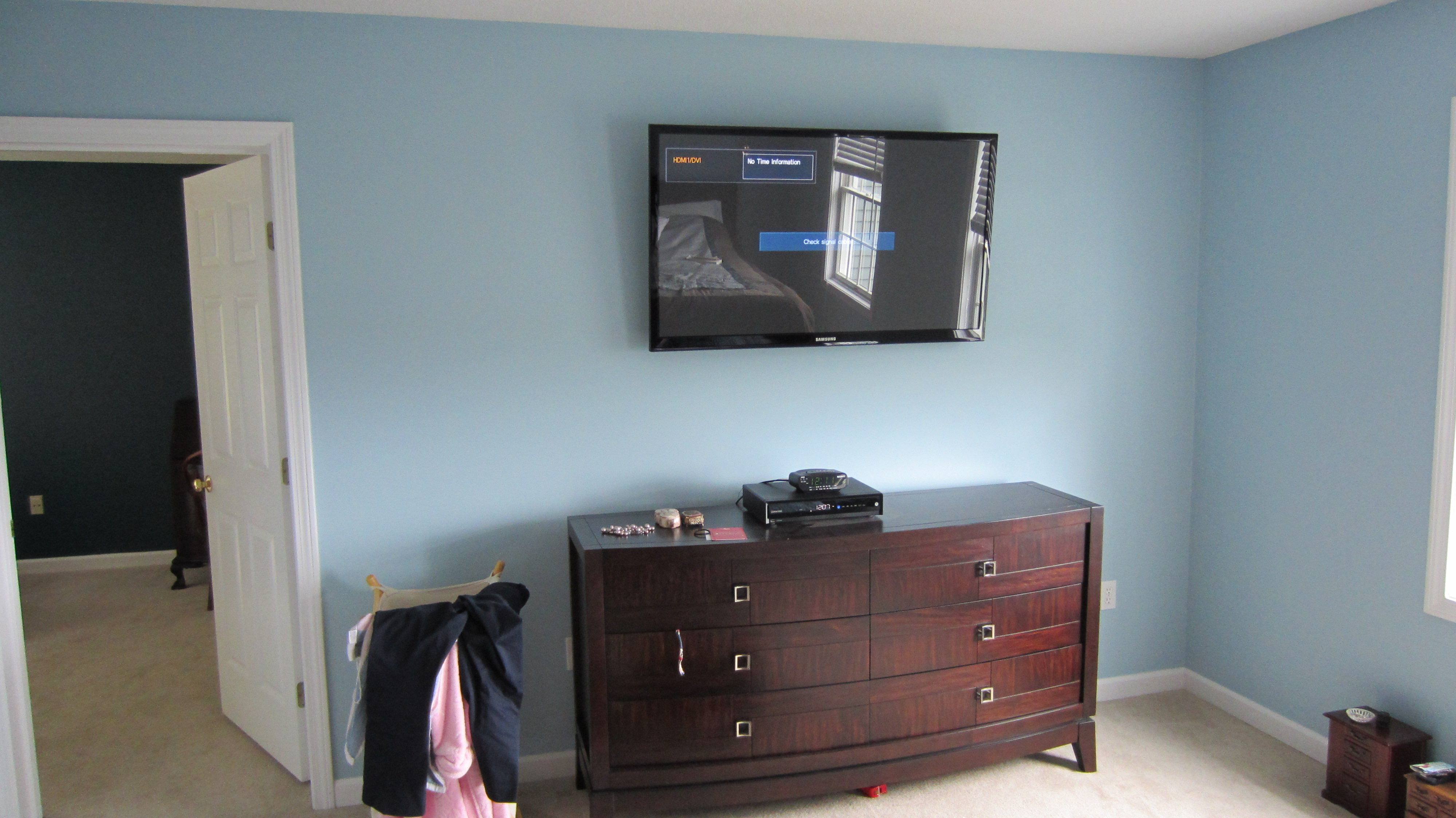 burlington, ct tv mounting on wall in bedroom | Home Theater ...