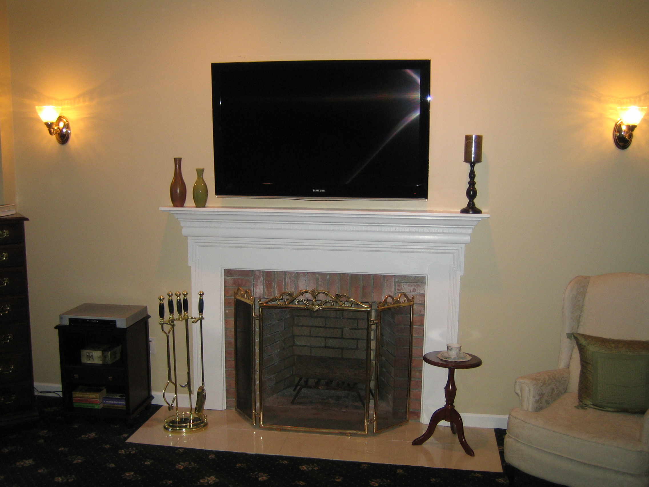 Clinton ct tv install above fireplace in wall wire for Tv over fireplace