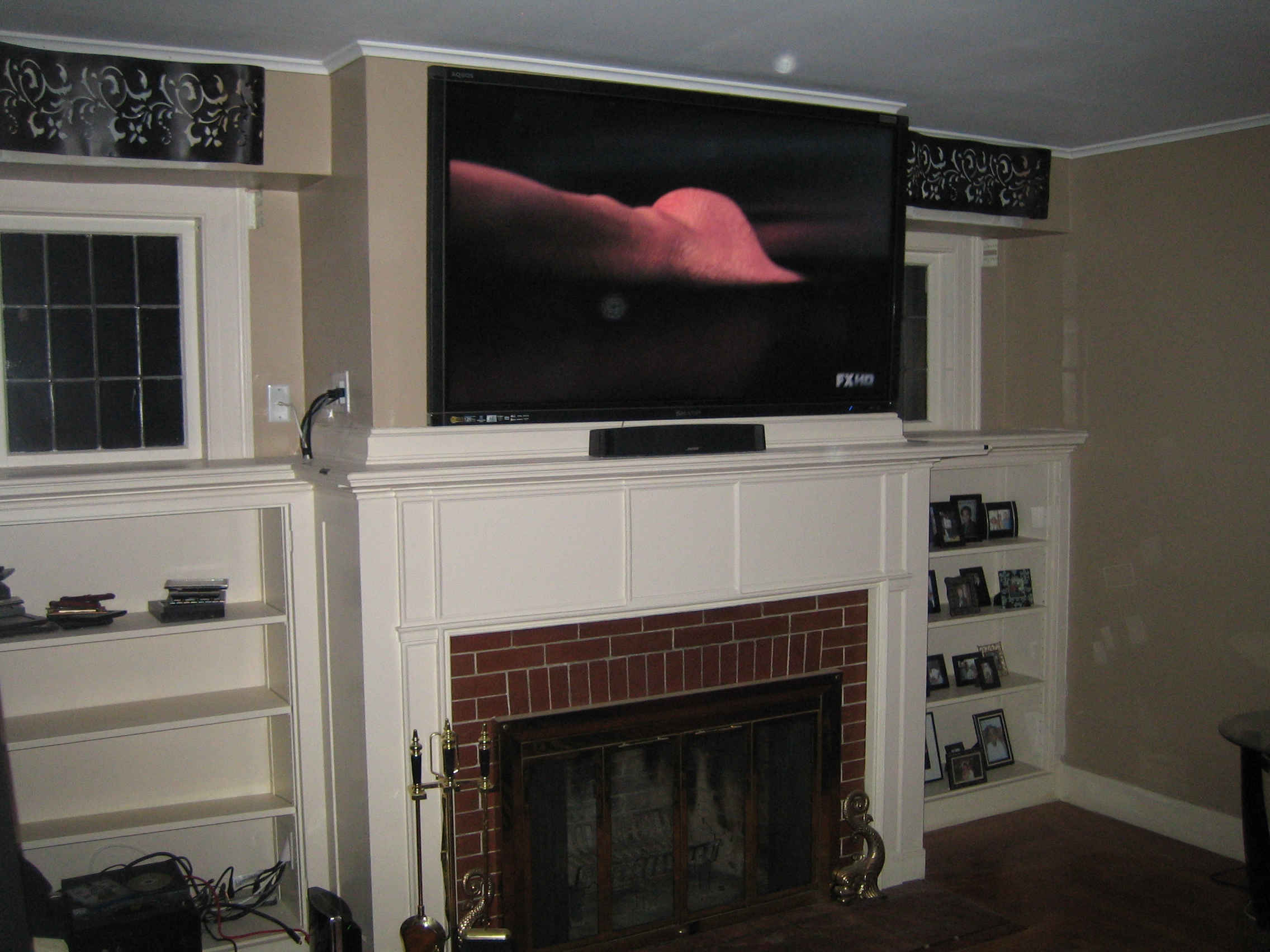 Tv over fireplace ideas where is cable box ask home design for Tv over fireplace