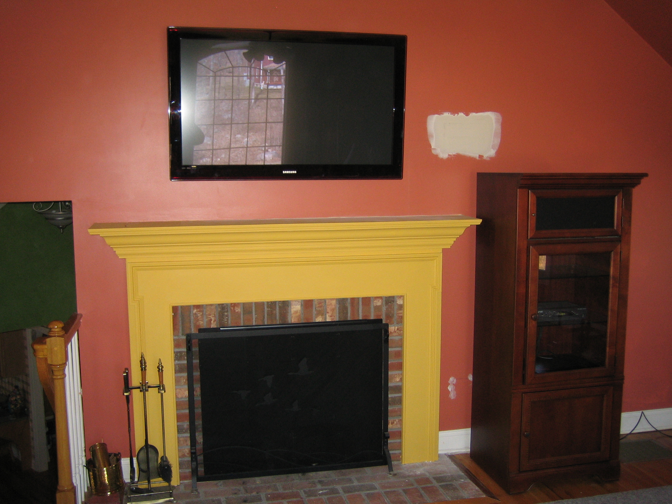 Deep River Ct Tv Install Over Fireplace In A Large Family Room Richey Group Llc Audio