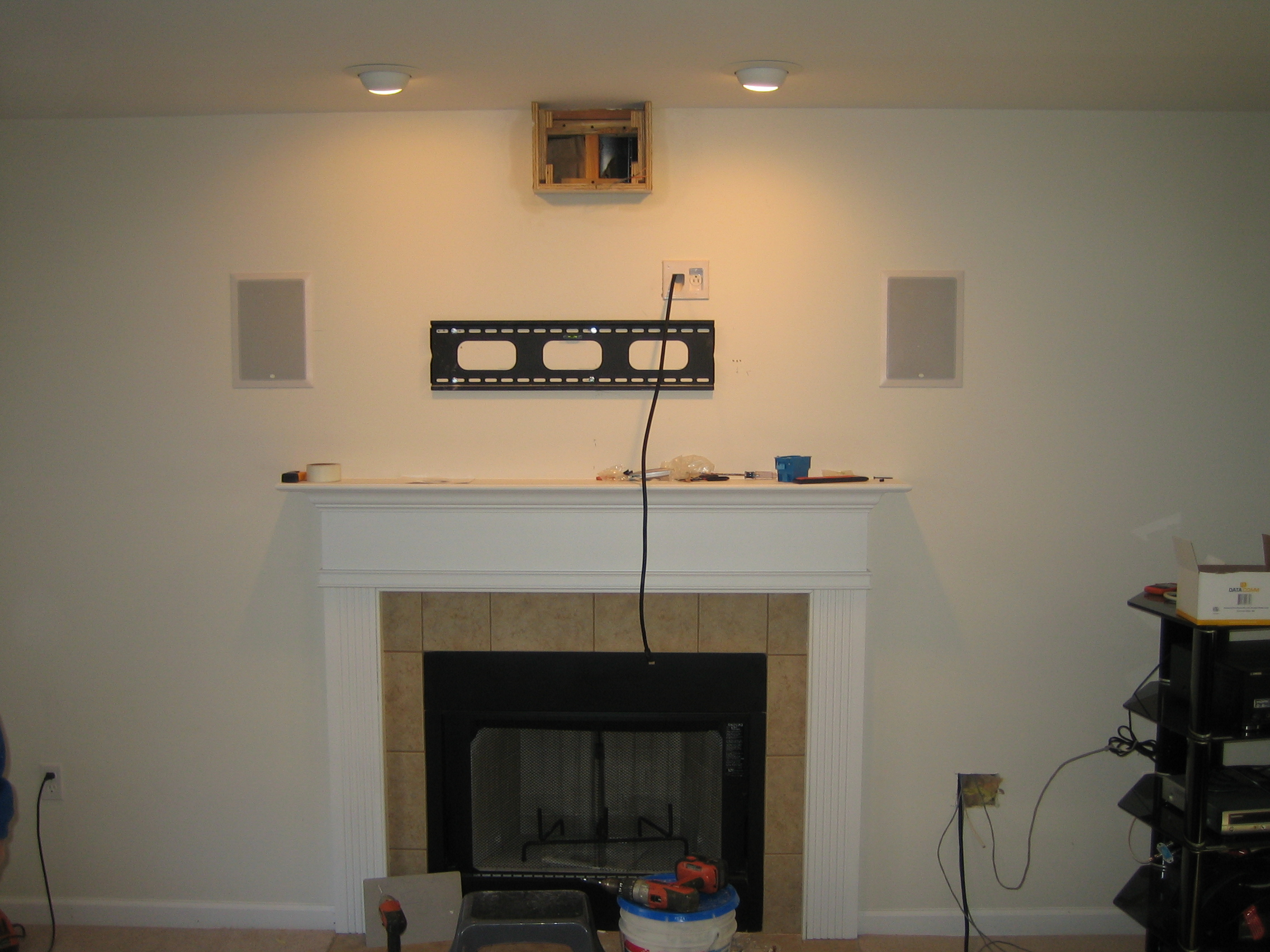 5 1 Home Theater Subwoofer Tv Over Fireplace Wires Hidden