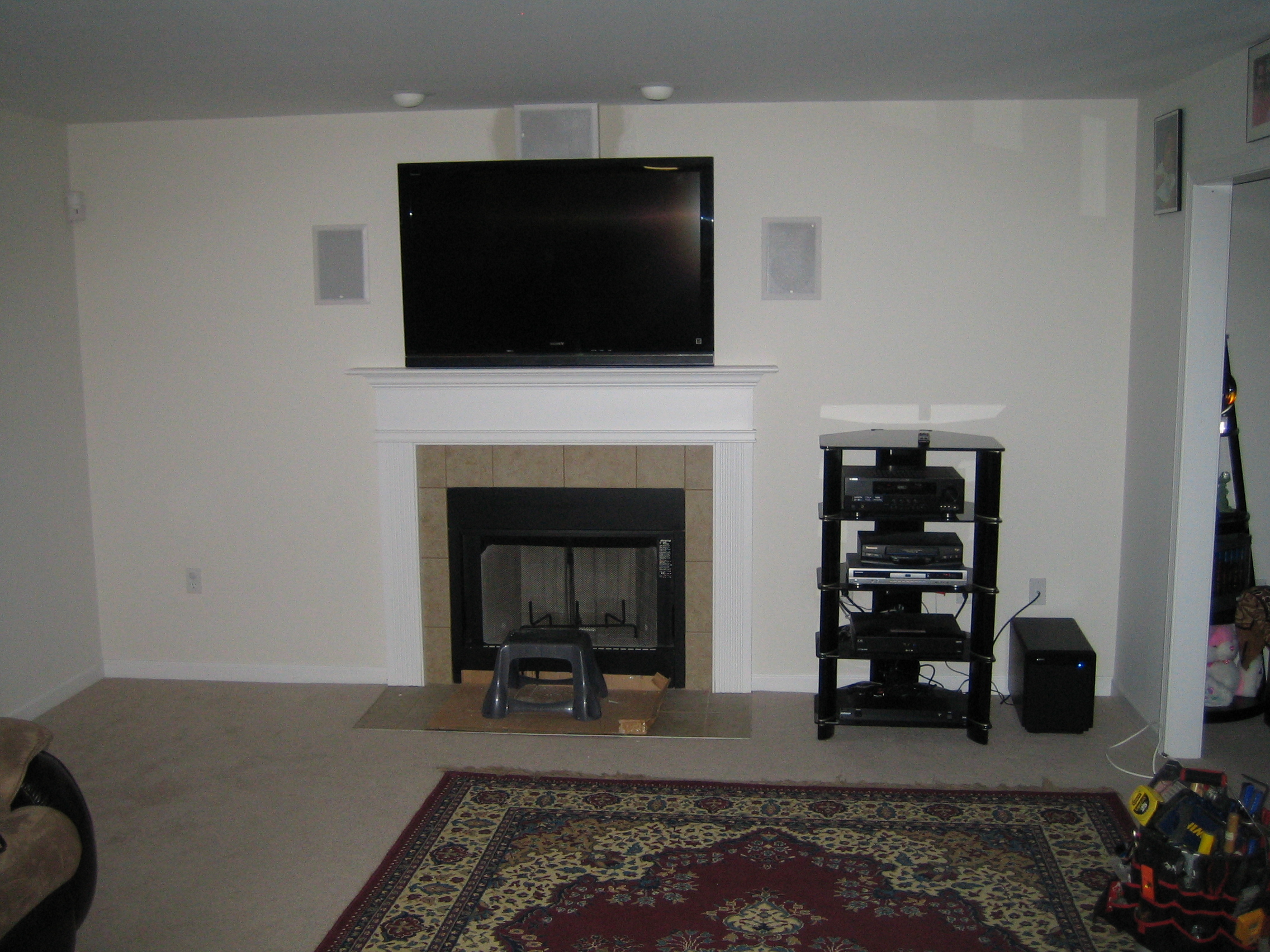 Put Tv Above Fireplace Cable Box Fireplaces