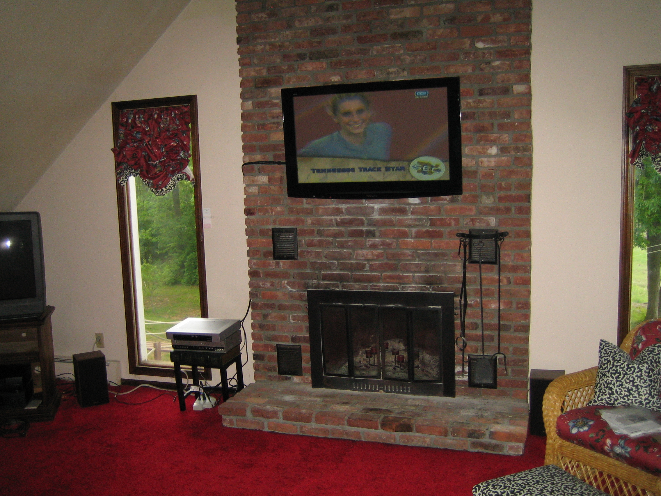 Durham Ct Tv Mounted Above Fireplace On Brick Looks Amazing Home Theater Installation