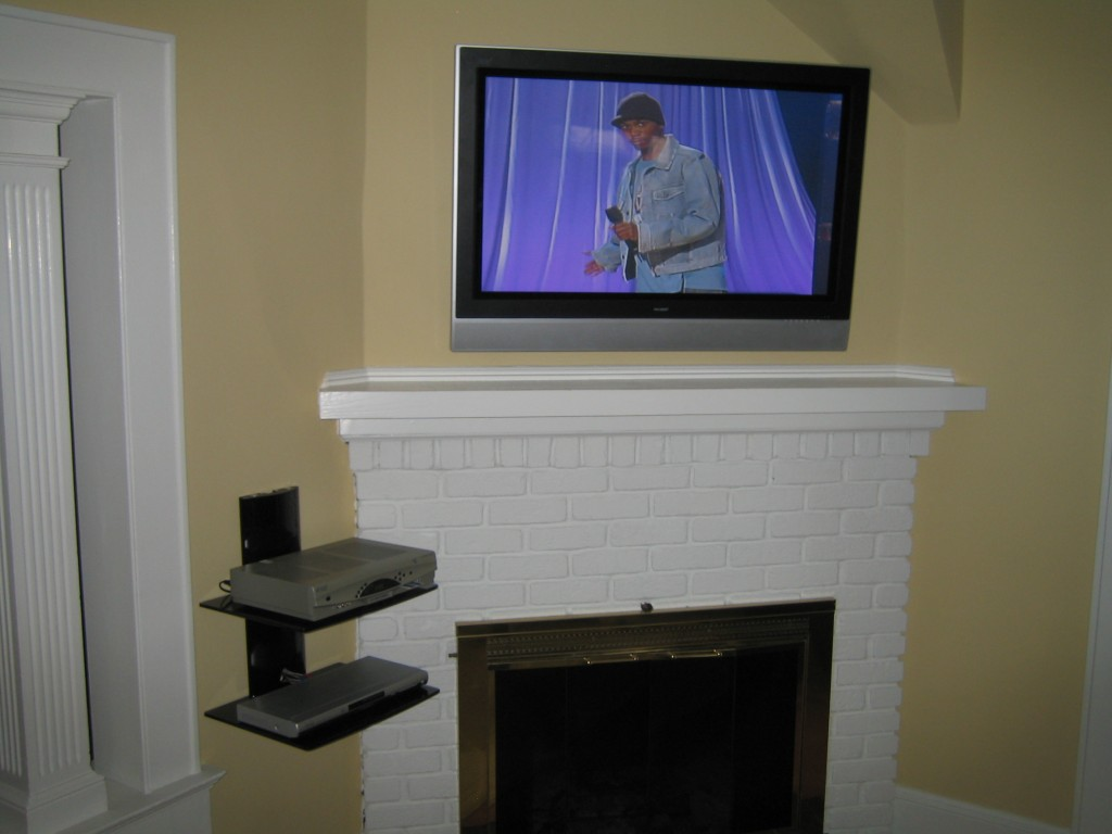 Coventry Ct Tv Instlal Over Fireplace With All Wires Concealed And 2 Tier Shelf Richey