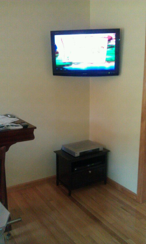 Corner Tv Mounting Wires Concealed Cable Box And Dvd