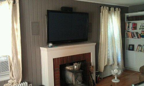 Wood Wall Tv Over Fireplace Remote Control Concealed Wires And Hidden Components Surround Sound