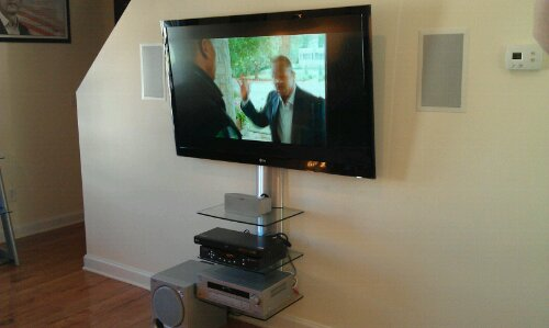 In Wall Speakers Tv On Wall Shelf Cable Box Dvd Player Home