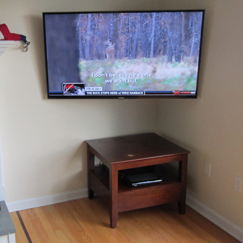 Corner Mounted TV Home Theater Installation