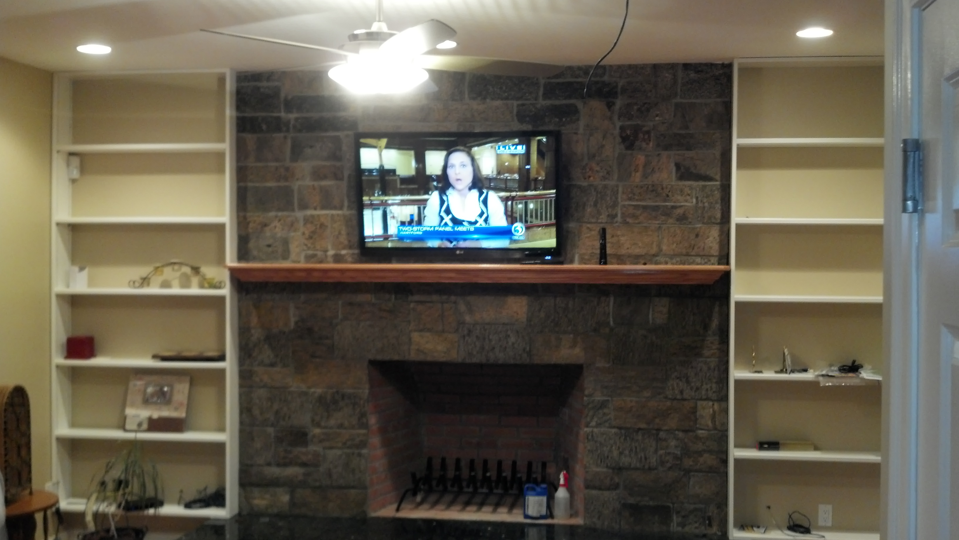 Branford Ct Tv Mounted Over Brick Fireplace W New