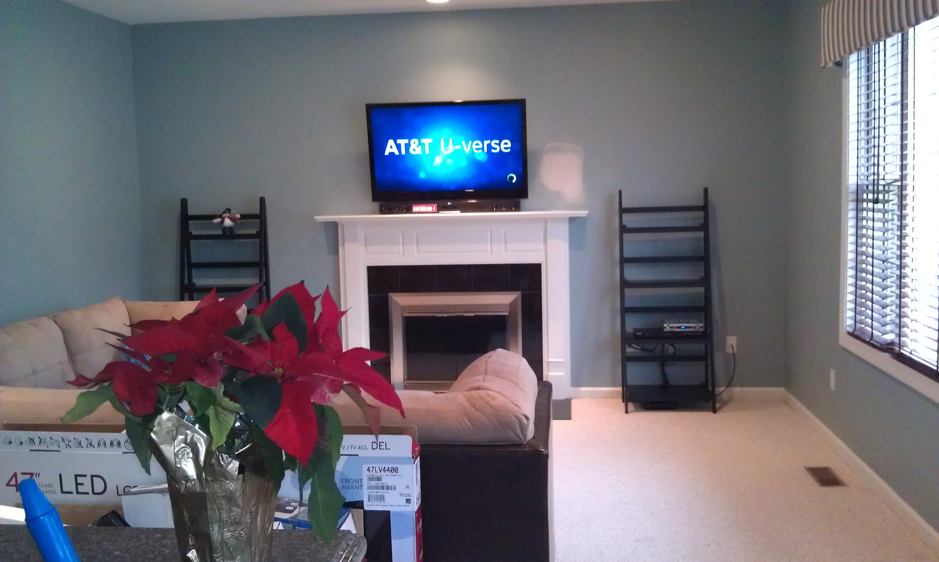 Middletown Ct Lg Tv Over Fireplace With Soundbar And Wires
