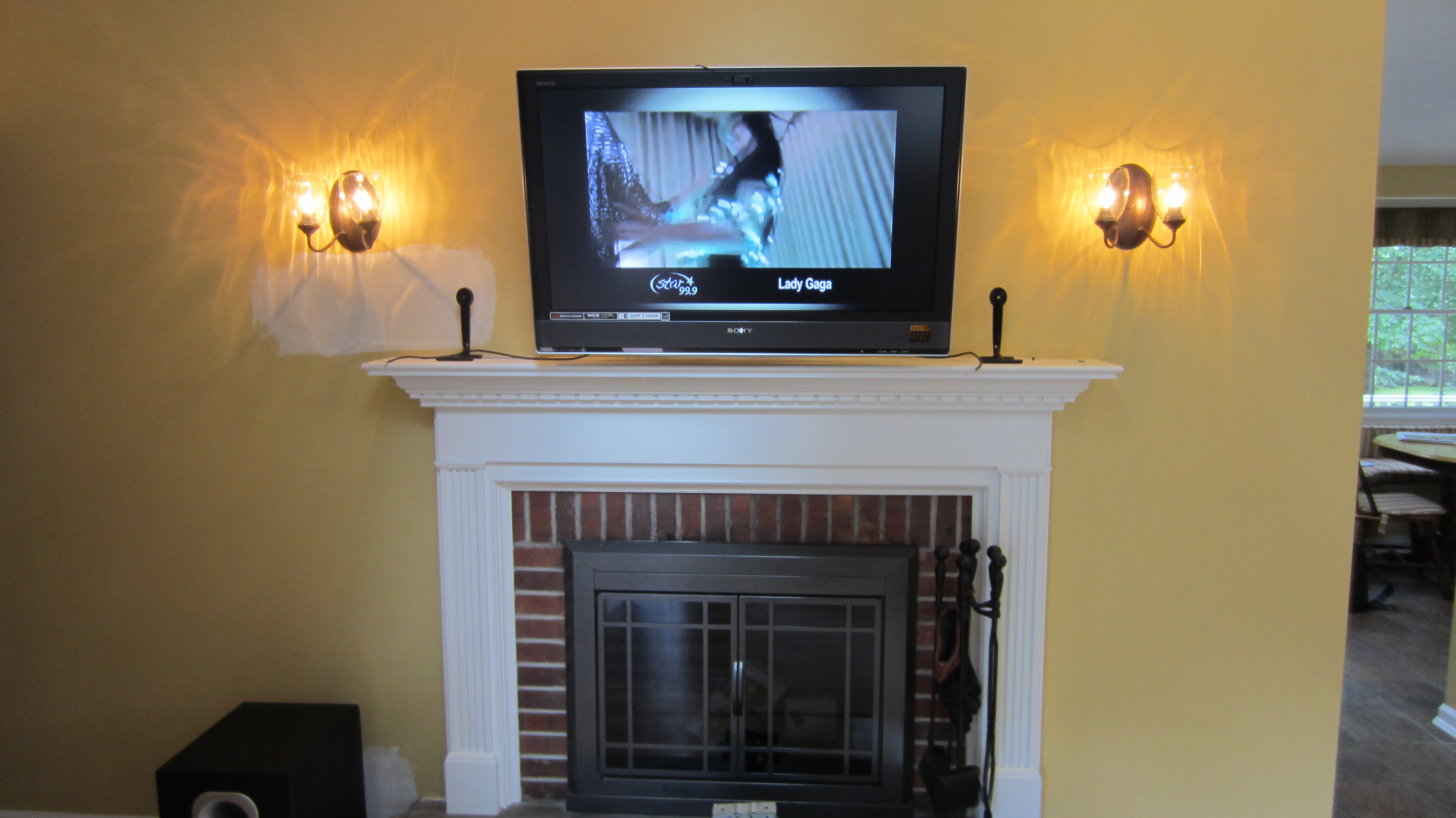 Norwalk Ct Tv Mounted Over Fireplace With All