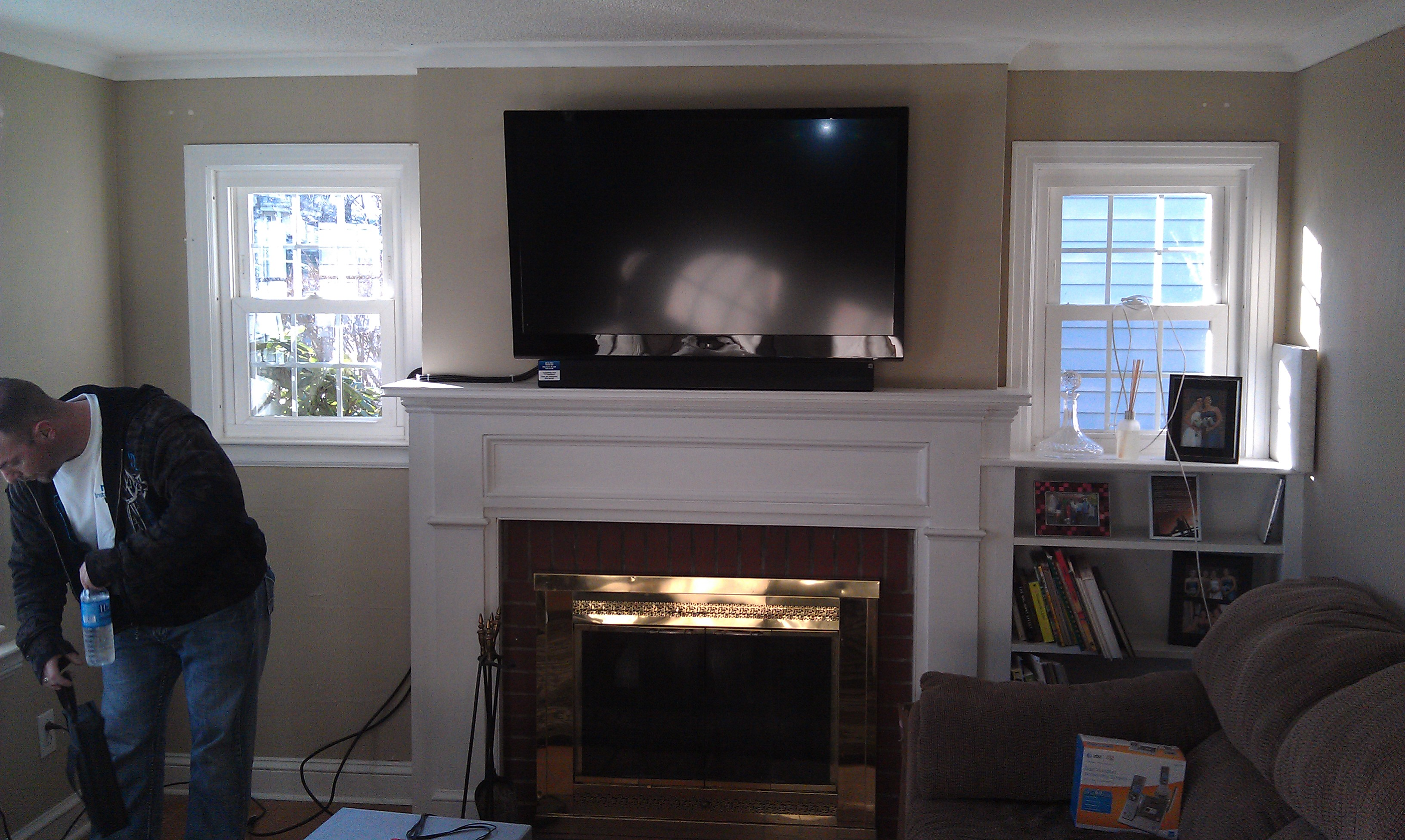Wethersfield Ct Tv Mounted Above Fireplace With Soundbar And