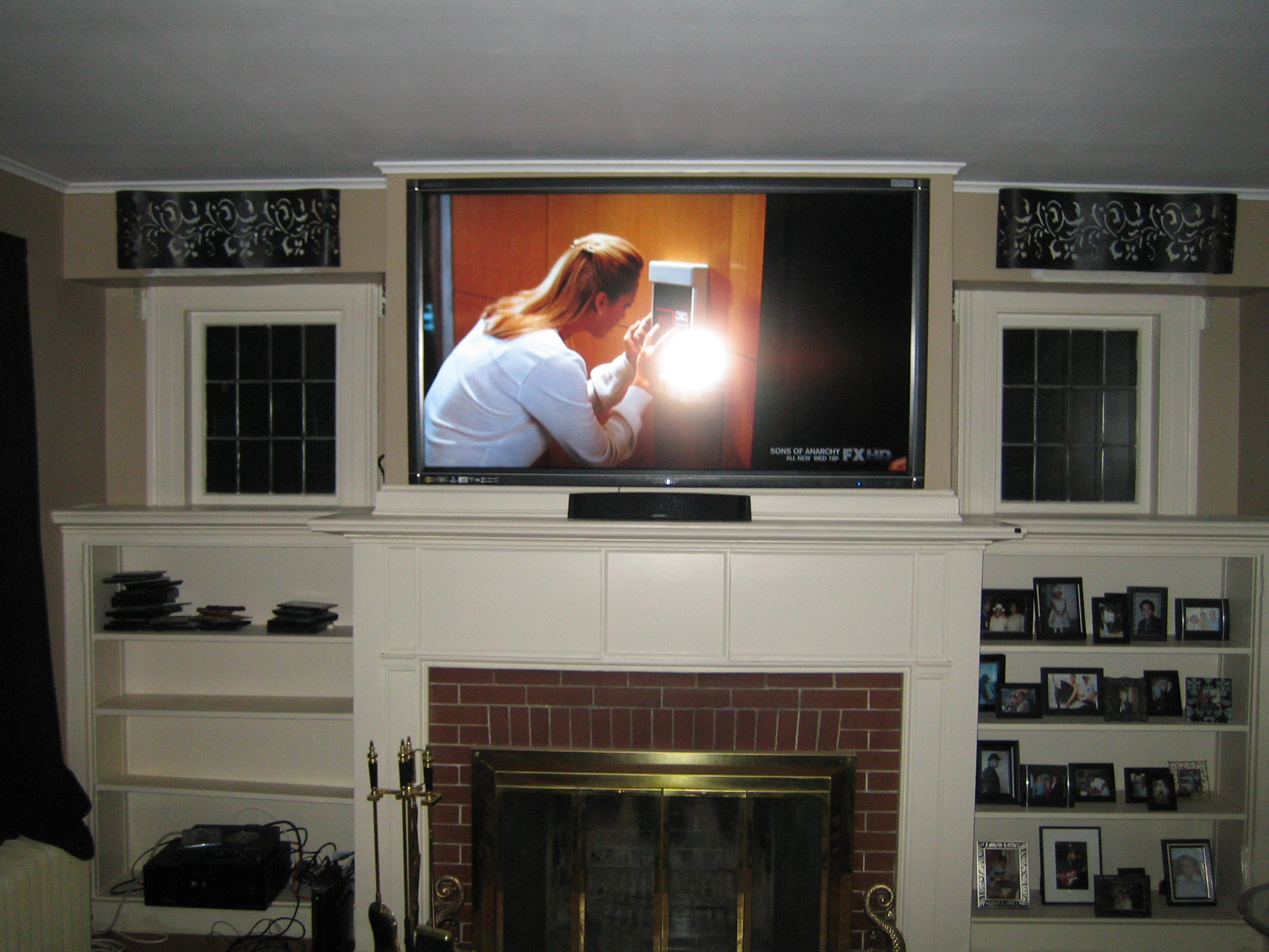 cheshire ct mount tv above fireplace home theater installation. Black Bedroom Furniture Sets. Home Design Ideas